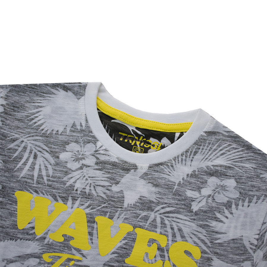 TRNVA Kids 3 to 14 Years Grey All Over Leaf Printed T-Shirt