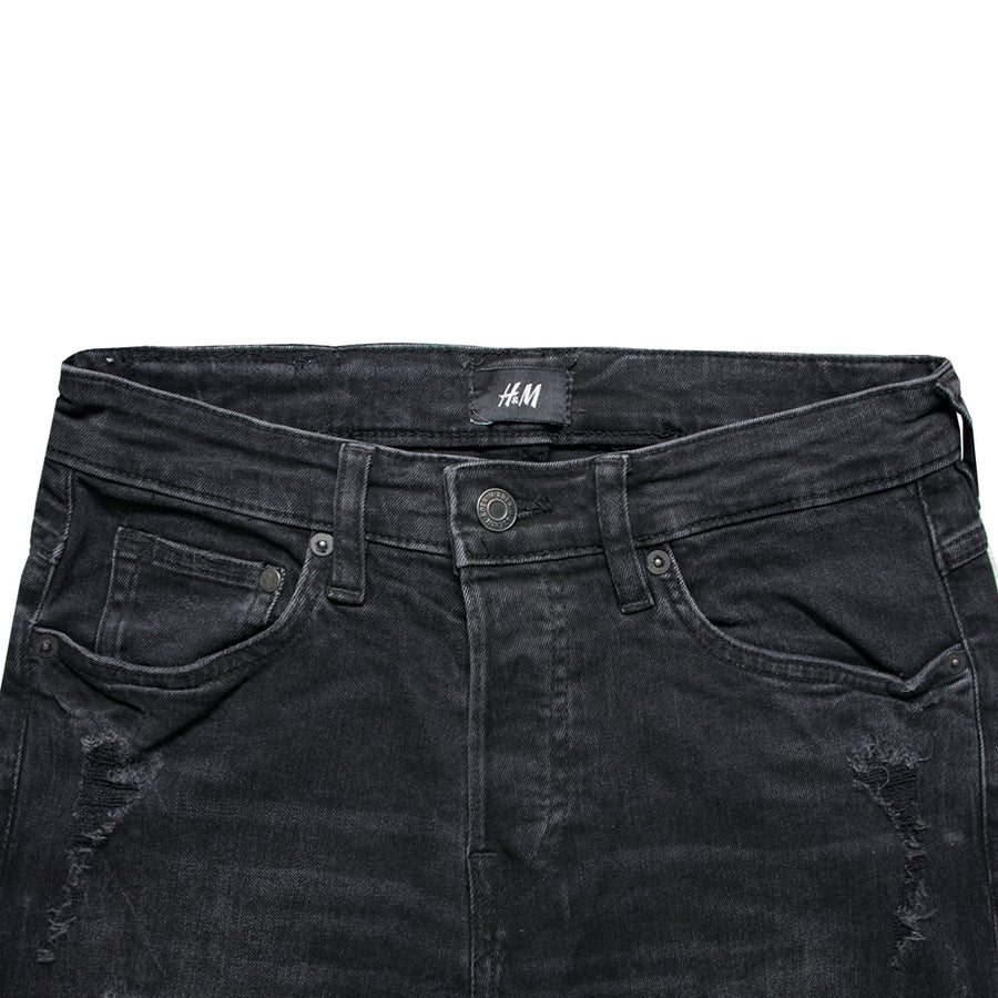 H&M Straight Fit Ripped Black Denim Pant