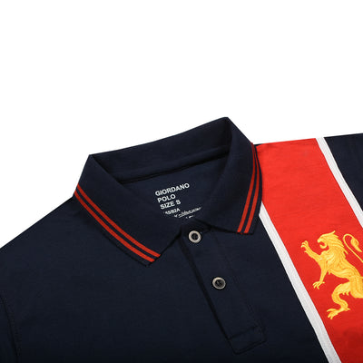 Premium Vertical Red Panel Polo