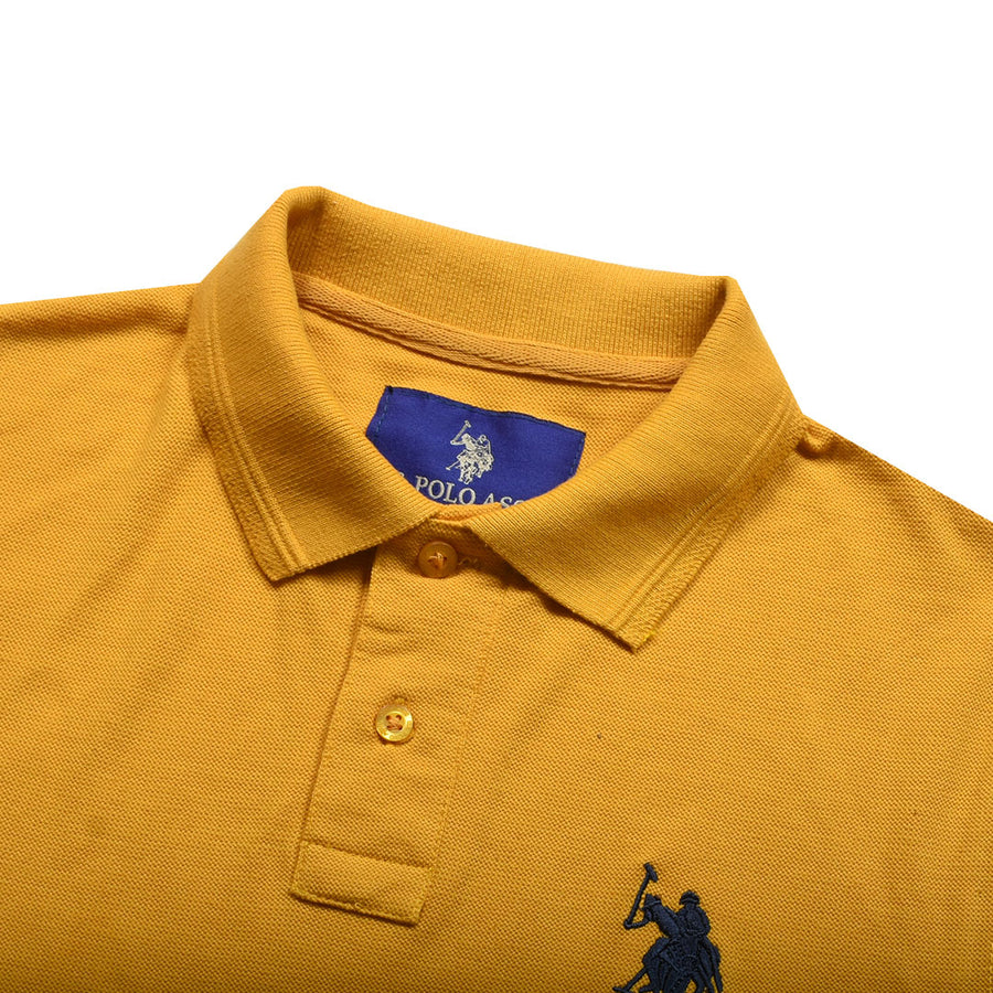 Ultra Comfort Flex Embroidered Logo Mustard Polo
