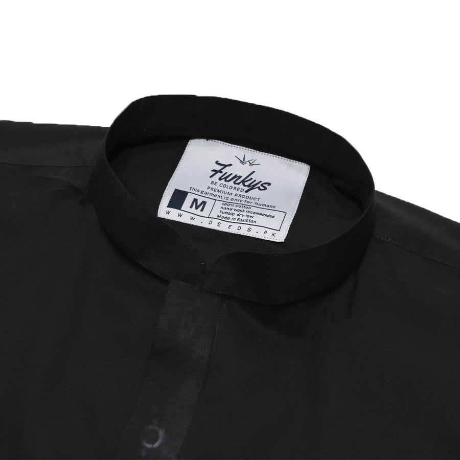 Funkys Plain Black Stitched Kurta