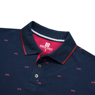GRNCST Pique Tipped Collar Printed Polo Shirt