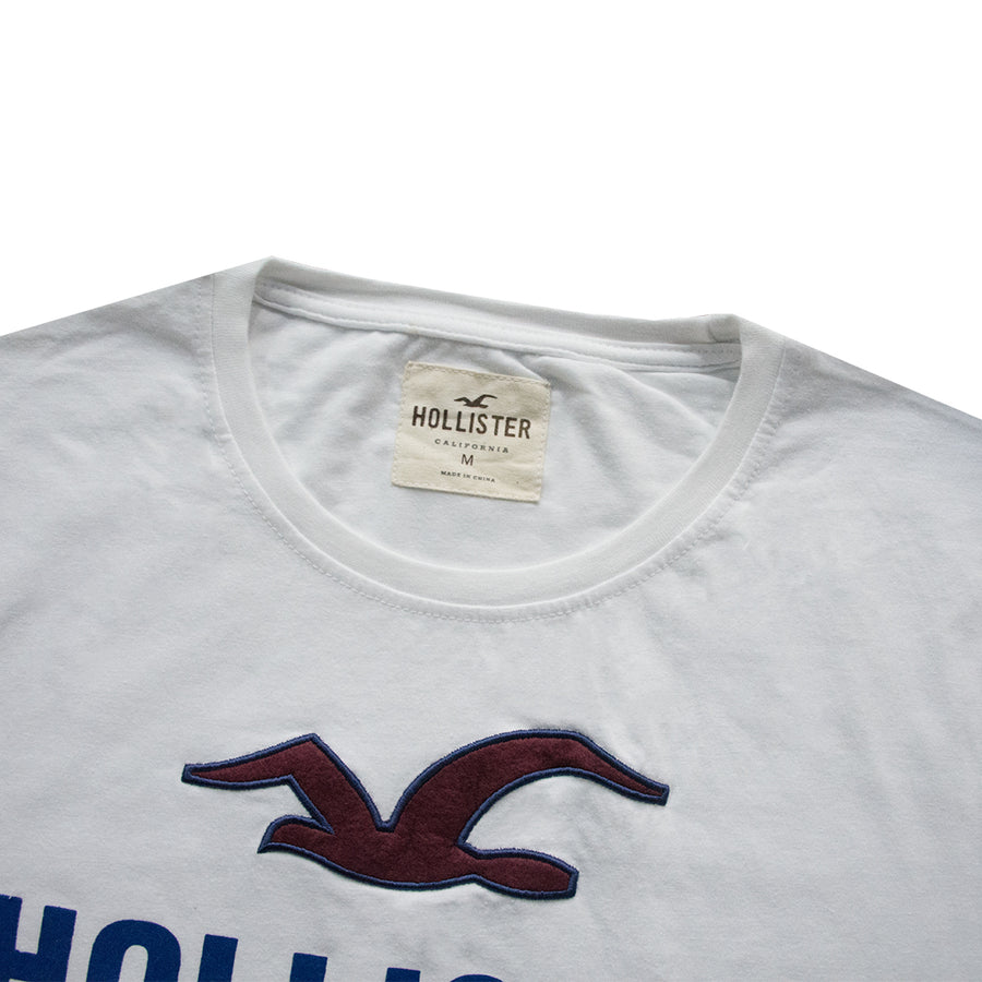 Crew Neck White Applique Logo T-Shirt