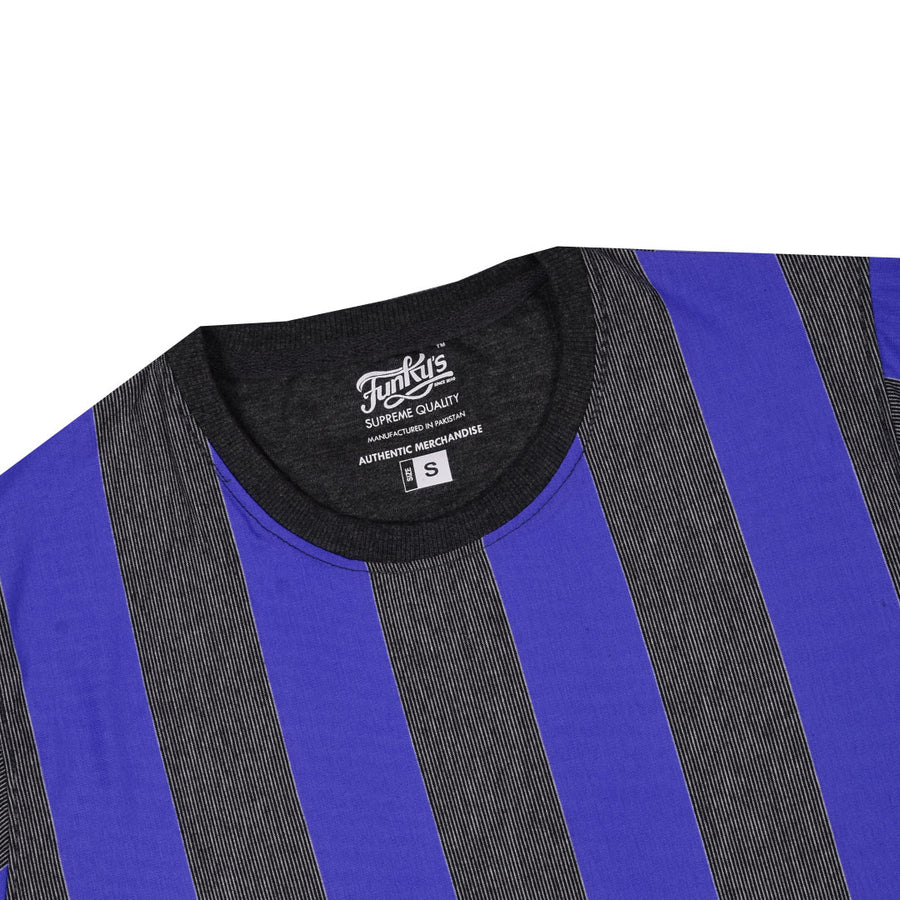 Funky's Dyed yarn designer stripe vogue Royal Blue Tee