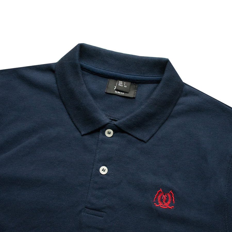 Classic Collar Dark Blue Polo Shirt - Deeds.pk