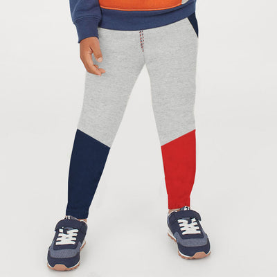 Boys Color Block Slub Grey Trouser