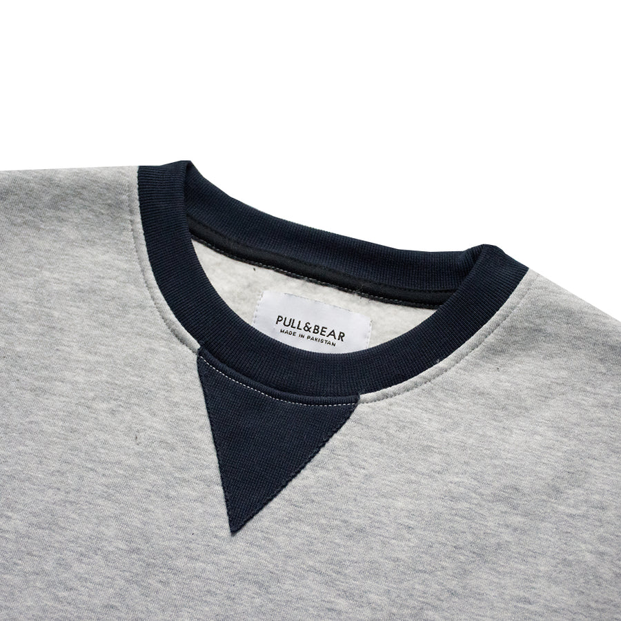 Pull & Bear Heather Grey Crew Neck Sweat Shirt