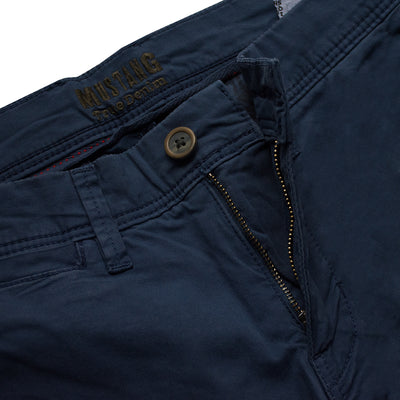 Slim Straight Dark Navy Cotton Pants