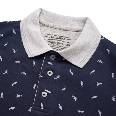 Pull & Bear All Over Fish Print Polo Shirt