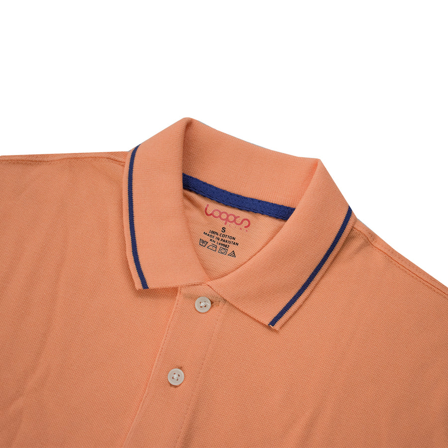 Loops Tipped Collar Light Orange Polo Shirt