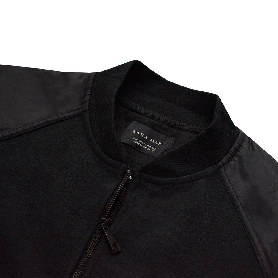 B-Quality Zara Man Black Bomber Jacket - Deeds.pk