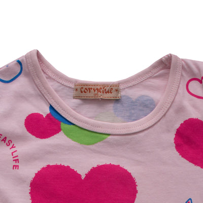 Kid's Multi Color Heart Shapes Top - Deeds.pk