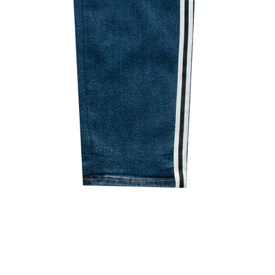 ASPTLE Dark Blue Side Striped Skinny Fit Denim - Deeds.pk