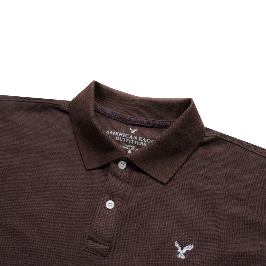 AE Dark Brown Slim Fit Long Sleeves Polo Shirt - Deeds.pk