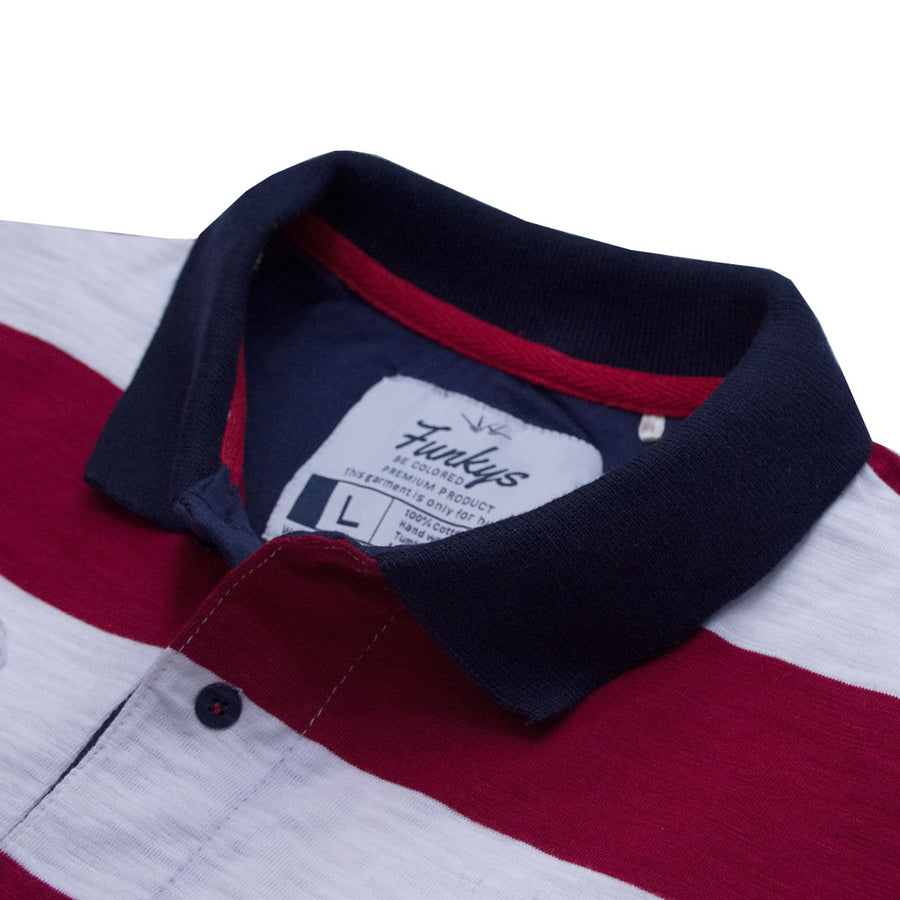 Funkys Oxbridge 03 Red Stripped Polo Shirt