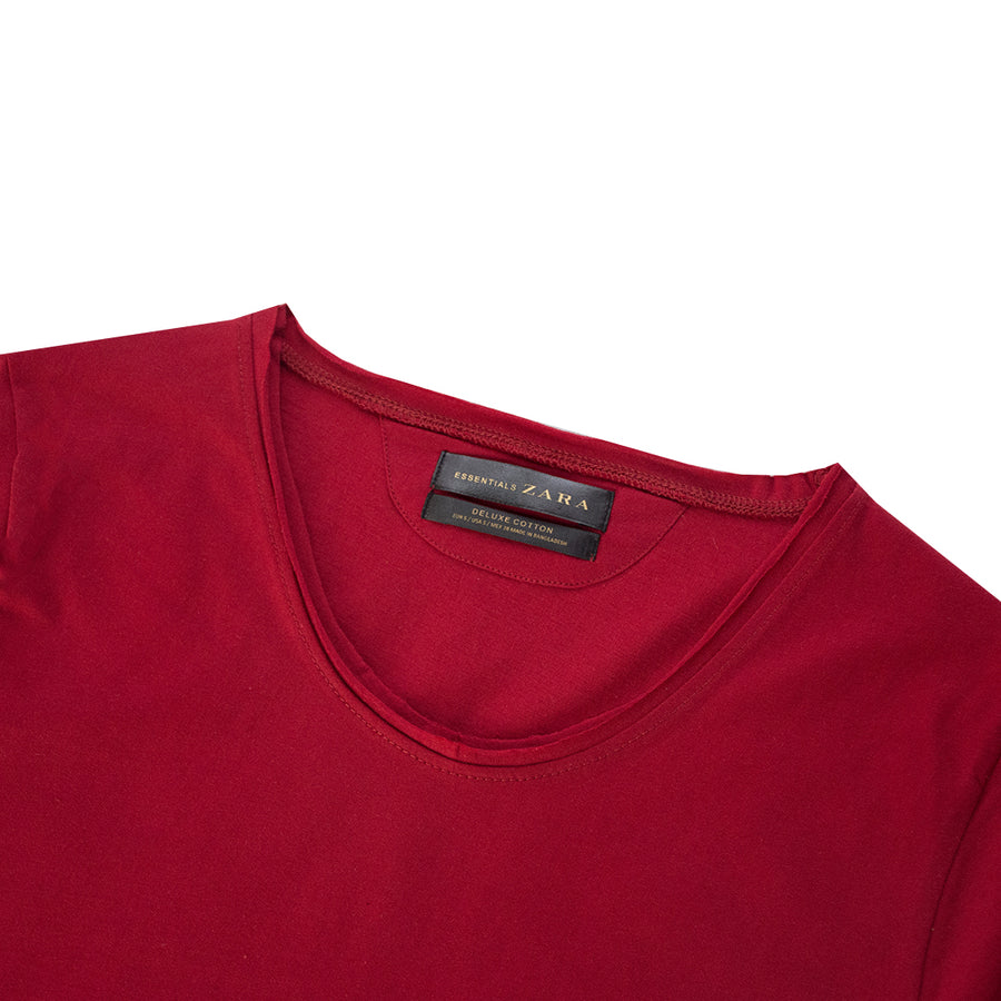 ZR Scoop Neck Raw Edge Red T-Shirt