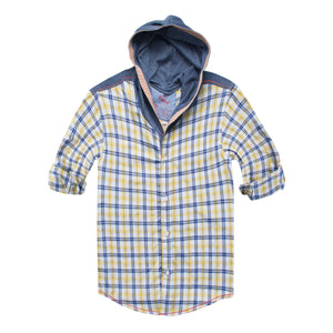 Funkys Boy's Yellow Checkered Hood Casual Shirt - Deeds.pk