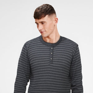 G.H.Bass & Co. Henley Charcoal Long Sleeves T-Shirt - Deeds.pk
