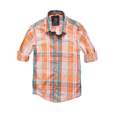 Funkys Boy's Orange Checkered Casual Shirt - Deeds.pk