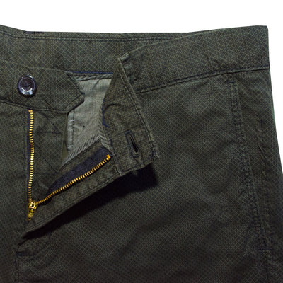 ZR Olive Green Skinny Fit Self Textured Cotton Pants