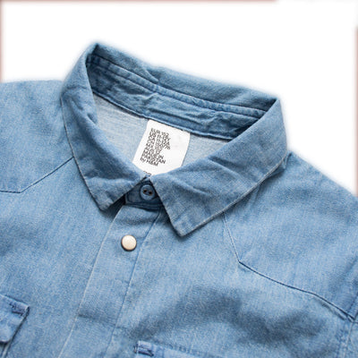 Double Pocket Pacific Blue Long Sleeves Casual Shirt - Deeds.pk