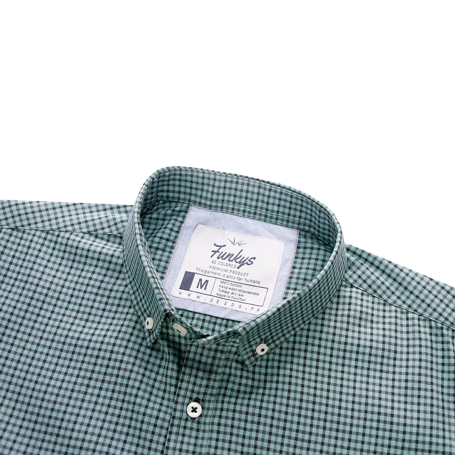 B-Quality Funky's Button Down Collar Micro Checkered Casual Shirt - Deeds.pk