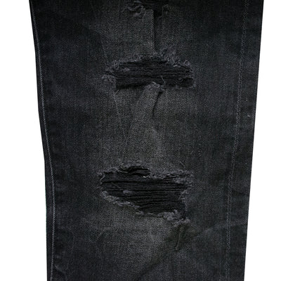 Straight Fit Ripped Black Denim Pant