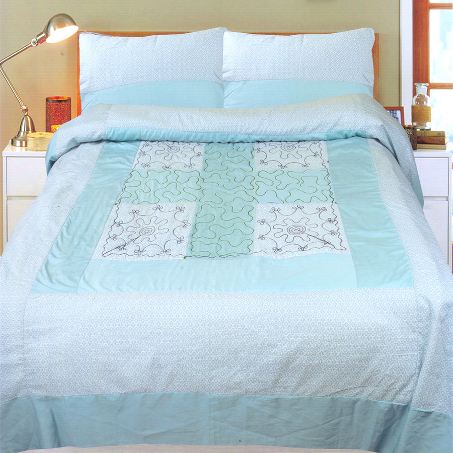 Funky's Mint Green Center Patched Bed Sheet