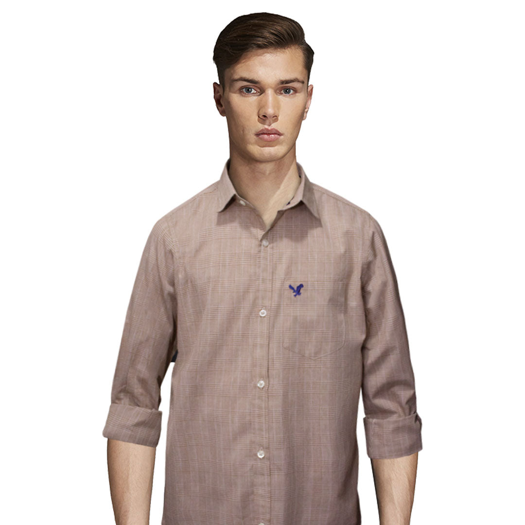 American Eagle Light Brown Checkered Casual Shirt - Deeds.pk