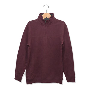 Arrow Cut Label Quarter Zipper Maroon Sweat Shirt - Deeds.pk