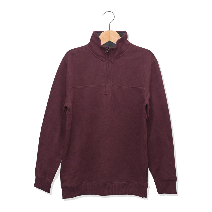 ARW Cut Label Quarter Zipper Maroon Sweat Shirt - Deeds.pk