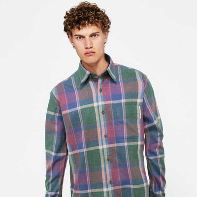 HNDM Flannel Rainbow Checkered Casual Shirt