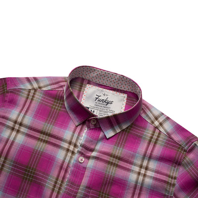 Funkys Pink Checkered Casual Shirt B-Quality