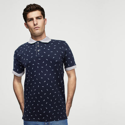 All Over Fish Print Polo Shirt - Deeds.pk