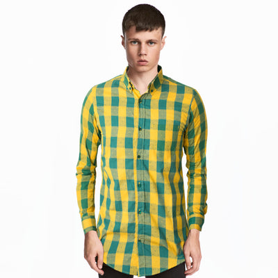 Old Navy Yellow Green Mingle Check Casual Shirt - Deeds.pk