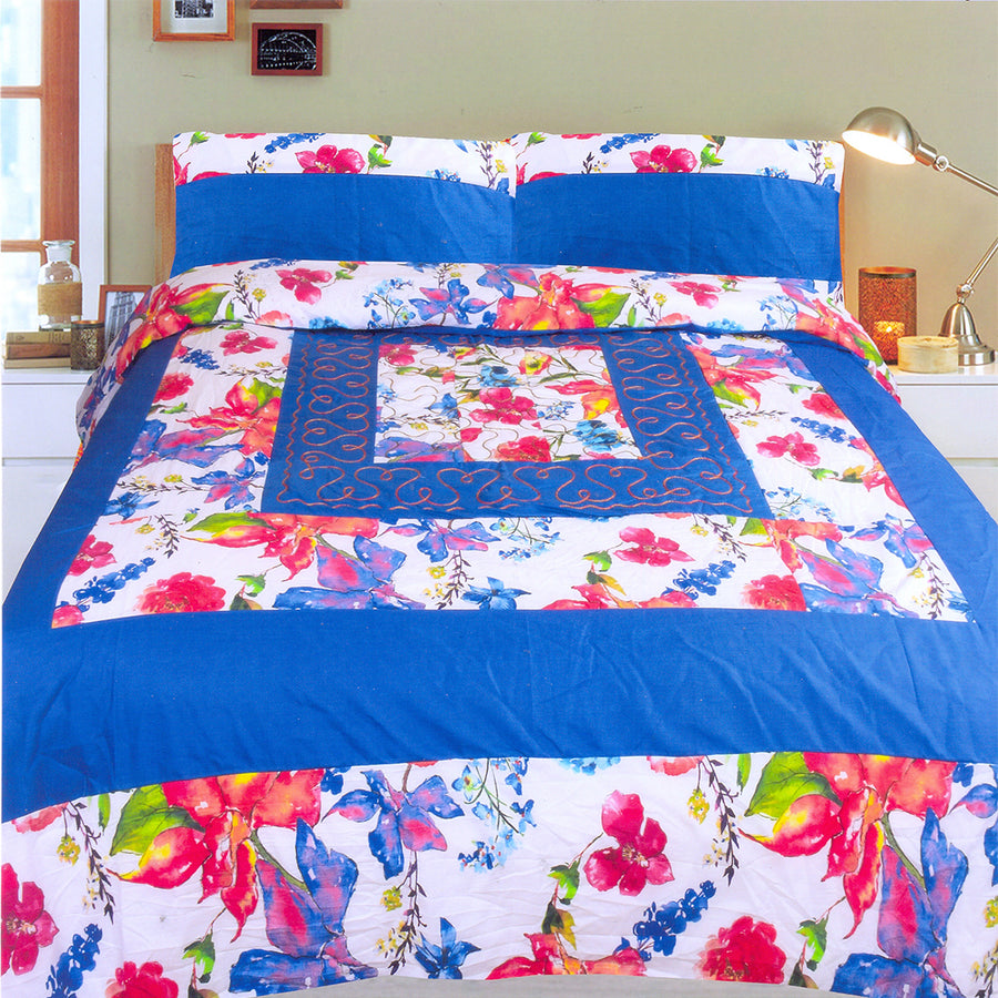 Funky's Blue Floral Center Patched Bed Sheet