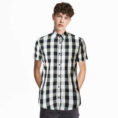 BRTN Black and White Gingham Check Casual Shirt - Deeds.pk