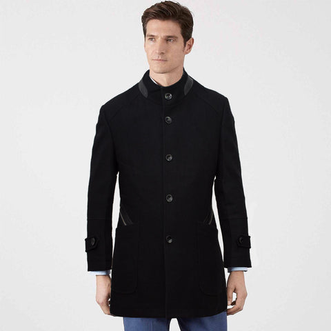 Intense Black Wool Long Winter Coat