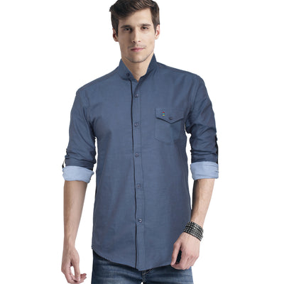 Funkys Steel Blue Mandarin Collar Casual Shirt - Deeds.pk