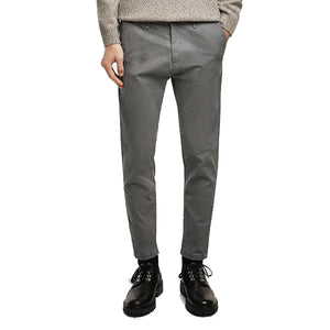 Zara Man Space Grey Skinny Fit Self Textured Cotton Pants
