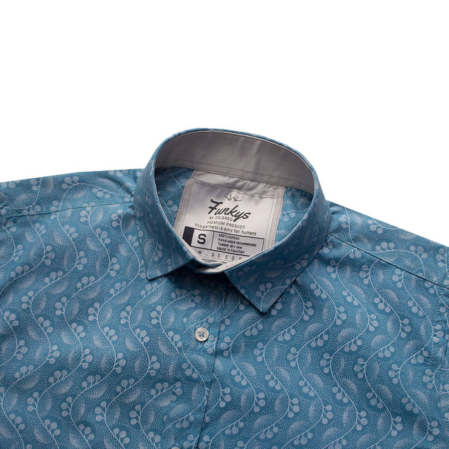 Funkys Azure Pattern B-Quality Casual Shirt
