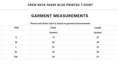 Crew Neck Faded Blue Printed T-Shirt