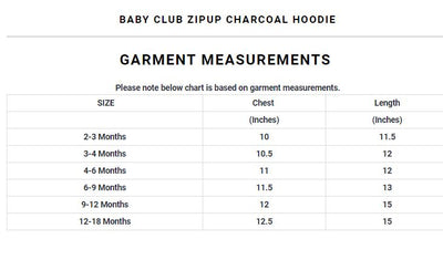 Baby Club Zipup Charcoal Hoodie ( 2 MONTHS TO 18 MONTHS ) - Deeds.pk