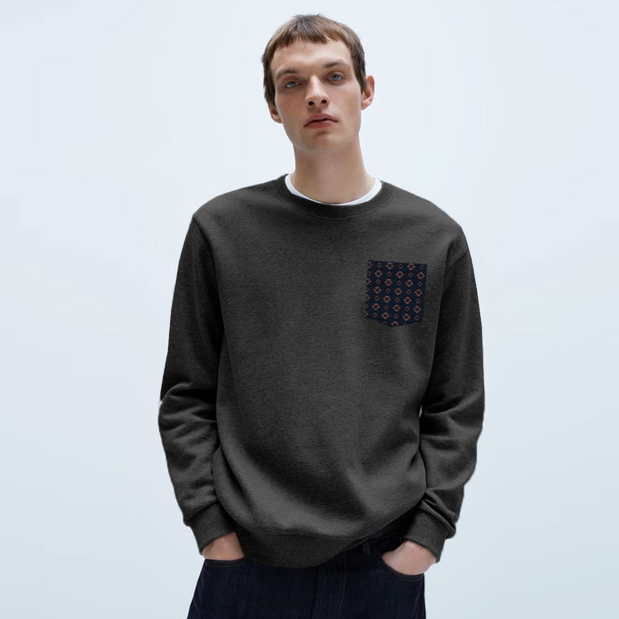 Printed Pocket Black Plain Sweatshirt
