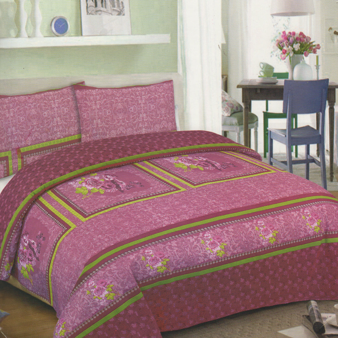 Cotton Concept Pink & Green Double Bed Sheet Set - Deeds.pk