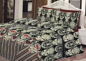 Daffodils Black Royal Print Double Bed Sheet Set - Deeds.pk