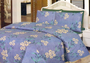 Daffodils Blue Floral Print Pack Of 2 Single Bed Sheets - Deeds.pk