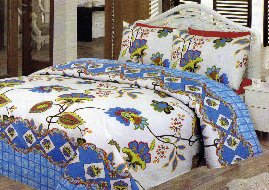 Daffodils Blue & White Double Bed Sheet Set - Deeds.pk