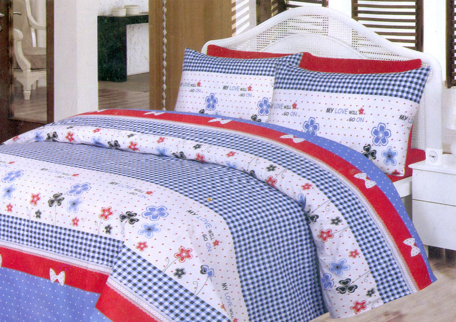 Daffodils Blue & White Pattern Double Bed Sheet Set - Deeds.pk