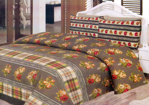 Daffodils Brown Floral Double Bed Sheet Set - Deeds.pk